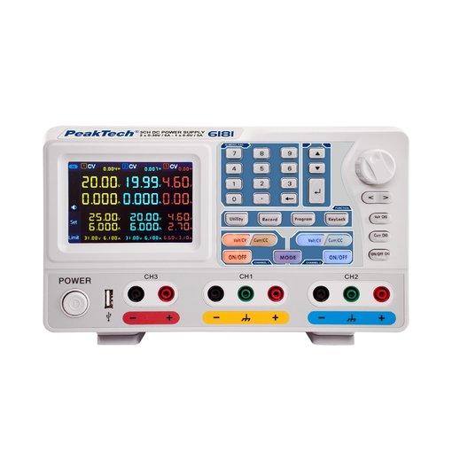 Nguồn lập trình DC PeakTech 6181(output: 2 x 0-30 V/2 x 0-6 A; 1 x 0-6 V @ 0 - 3 A)
