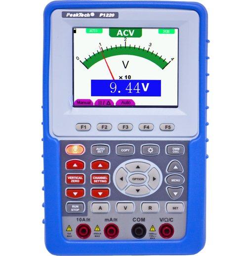 Máy hiện sóng cầm tay PeakTech 1220 (20MHz, 1Channel, ~100MS/s) tích hợp đồng hồ vạn năng